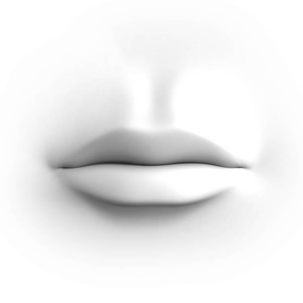Bocca umana isolato su bianco - foto stock