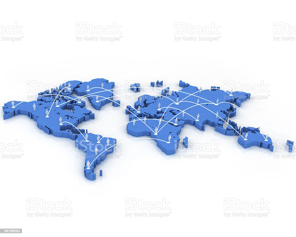 Human Network on World Map royalty-free stock photo