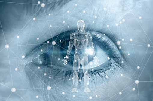 Human hologram on the background of the eye.