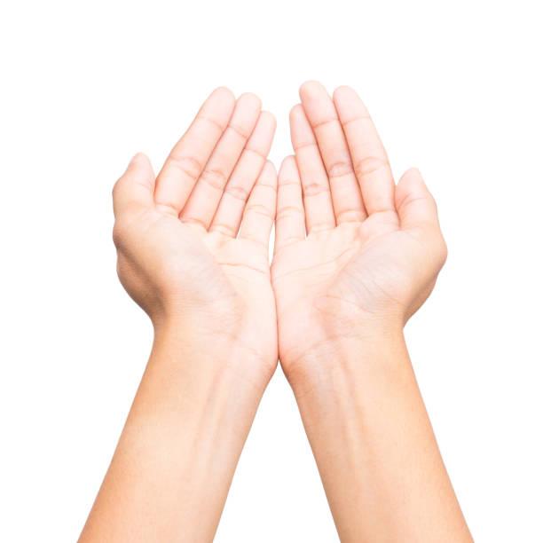 Menschlichen offene leeren Händen auf weißem Hintergrund. – Foto