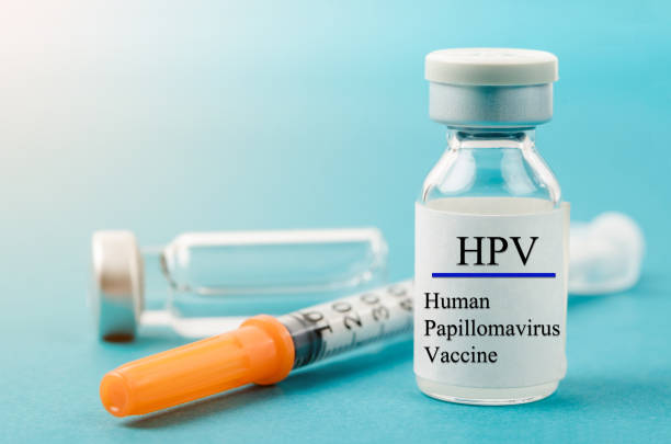 Human Papilloma Virus vaccine with syringe and vial stock photo