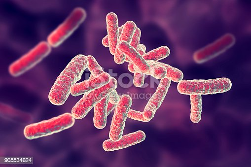 Human pathogenic bacteria on colorful background, 3D illustration