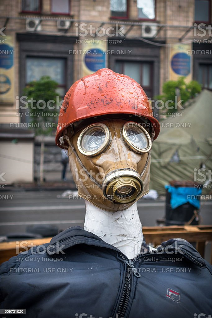 Human protest doll with gas mask, Kiev Ukraine. royalty-free stock photo