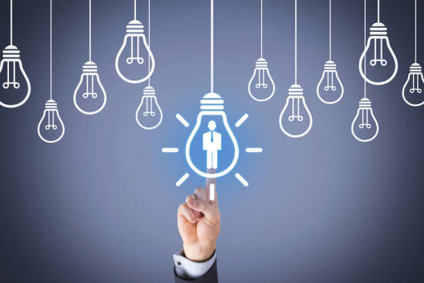 Human Resource and Idea with Light Bulb stock photo