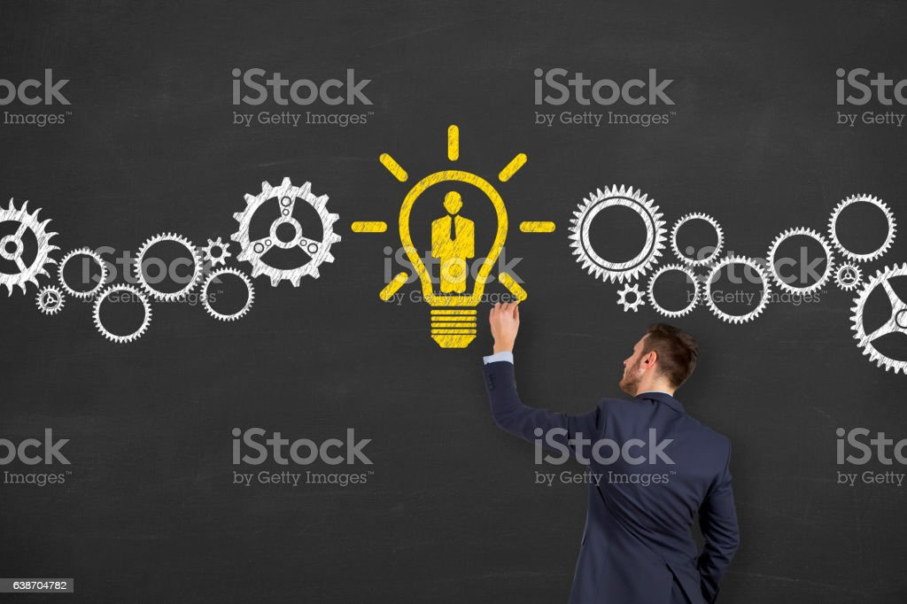 Human Resource and Idea With Person on Chalkboard stock photo