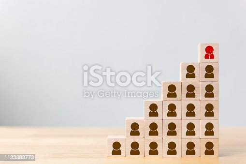 istock Human resource and talent management and recruitment business concept, Wooden cube block on top staircase 1133383773