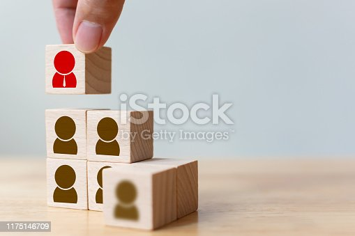 istock Human resource and talent management and recruitment business concept, Hand putting wood cube block on top staircase 1175146709