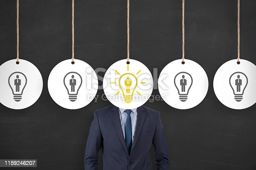 493338692istockphoto Human Resource Concepts over Business Person Head on Blackboard Background 1159246207