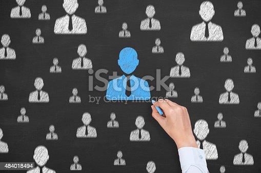 istock Human Resource Conceptual Drawing on Blackboard Texture 484018494