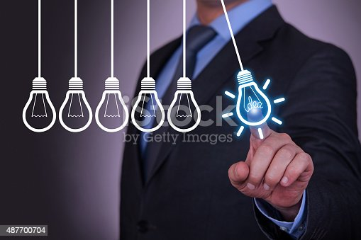 872670540 istock photo Human Resource Idea Bulb Concepts Touching on Visual Screen 487700704