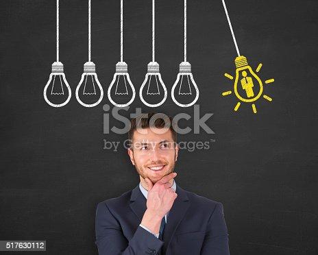 493338692istockphoto Human Resource Idea Light Bulb Concept Drawing Work on Blackboard 517630112