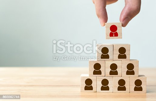 641422198istockphoto Human resource management and recruitment business concept, Hand putting wood cube block on top pyramid, Copy space 865562744