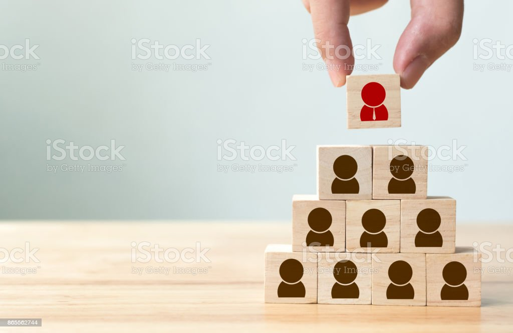Human resource management and recruitment business concept, Hand putting wood cube block on top pyramid, Copy space stock photo
