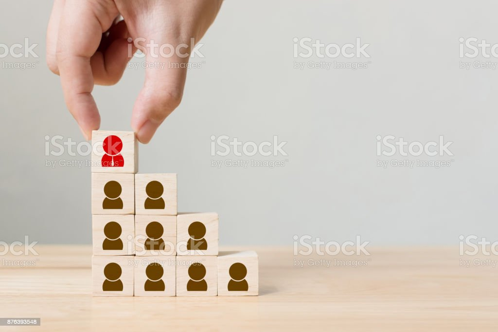 Human resource management and recruitment business concept, Hand putting wood cube block on top staircase, Copy space stock photo