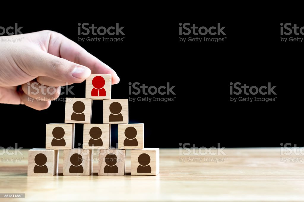 Human resource management and recruitment business concept, Wood cube building stock photo