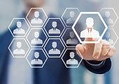 istock Human resource manager choosing to hire, virtual screen, recruitment 641422198