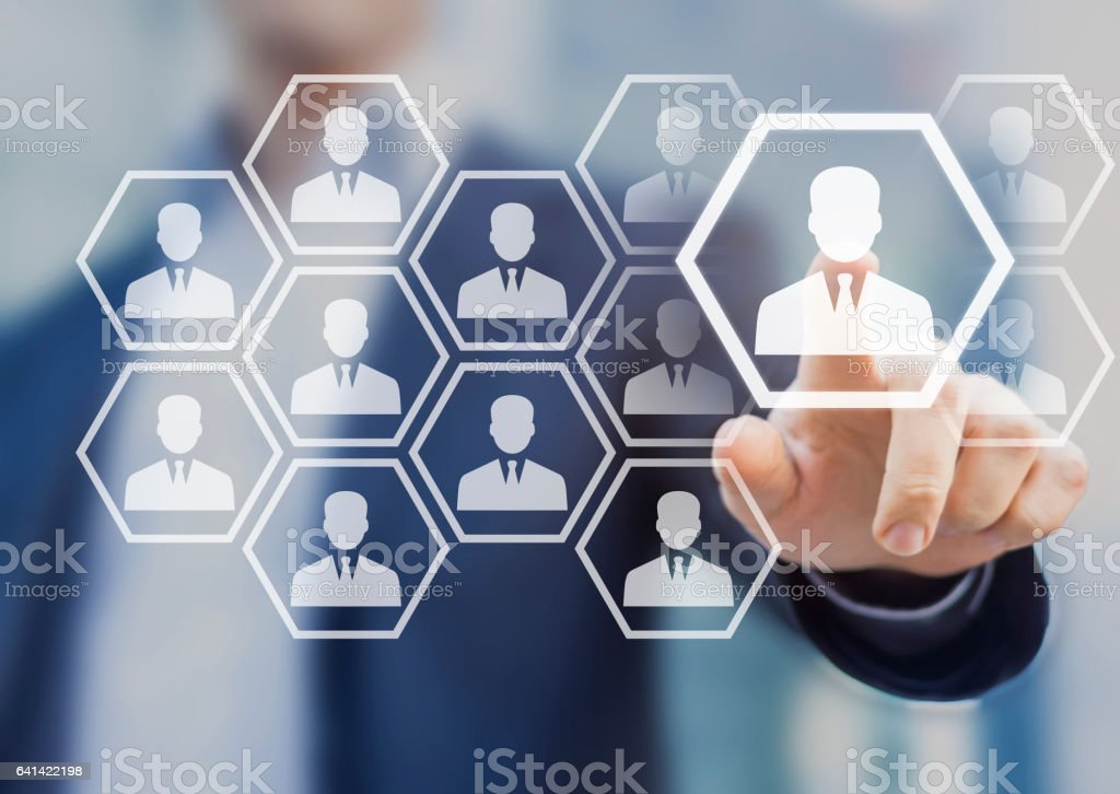 HR-Manager, die Wahl zu mieten, virtuelle Leinwand, Rekrutierung – Foto