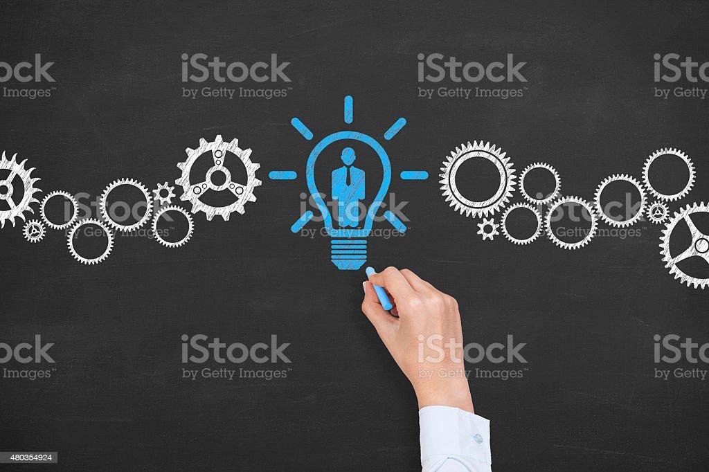 Human Resource on Blackboard stock photo