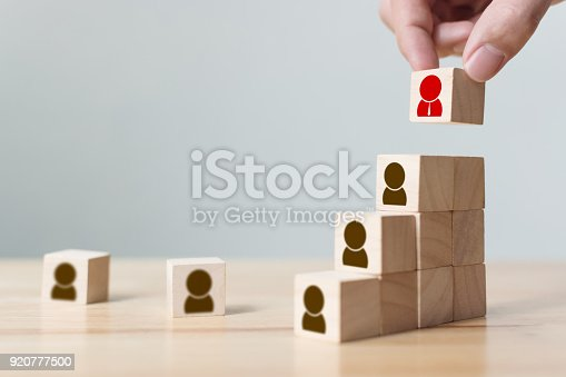 istock Human resources and talent management and recruitment business concept, Hand putting wood cube block on top staircase, Copy space 920777500