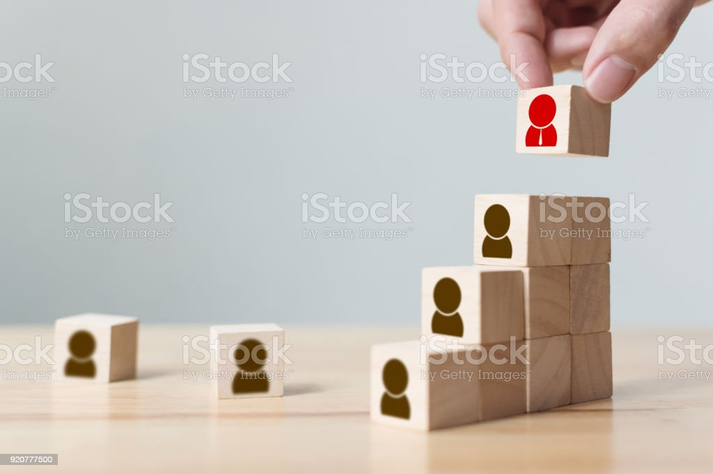 Human resources and talent management and recruitment business concept, Hand putting wood cube block on top staircase, Copy space stock photo