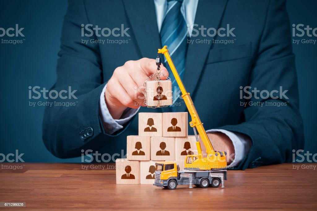 Human resources build team and corporate hierarchy concept stock photo