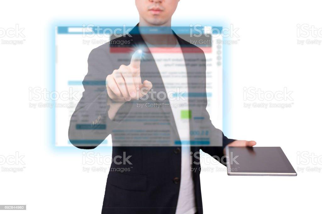 Human Resources-Konzept auf Tablet mit Hologramm – Foto
