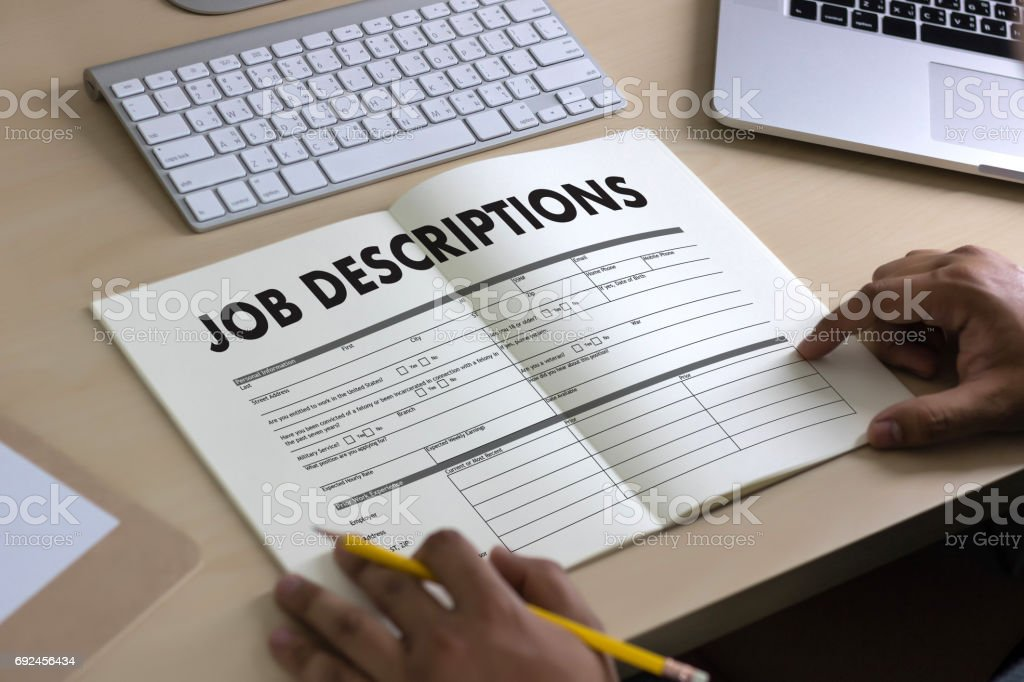 JOB DESCRIPTIONS Human resources, employment, team management stock photo