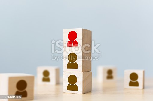 641422198istockphoto Human resources management and recruitment business build team concept. Wooden cube block on top with icon 1076685136