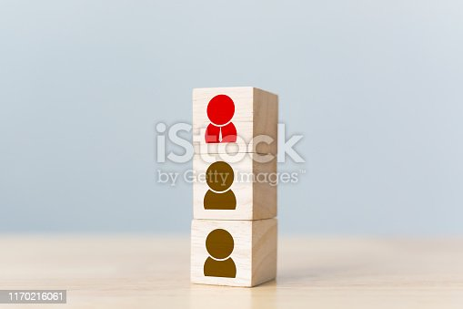 641422198istockphoto Human resources management and recruitment business build team concept. Wooden cube block on top with icon 1170216061