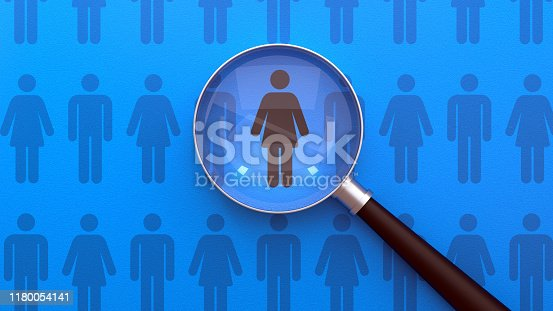 istock Human Resources Management and Recruitment Business Hiring Magnifying Glass Concept 1180054141