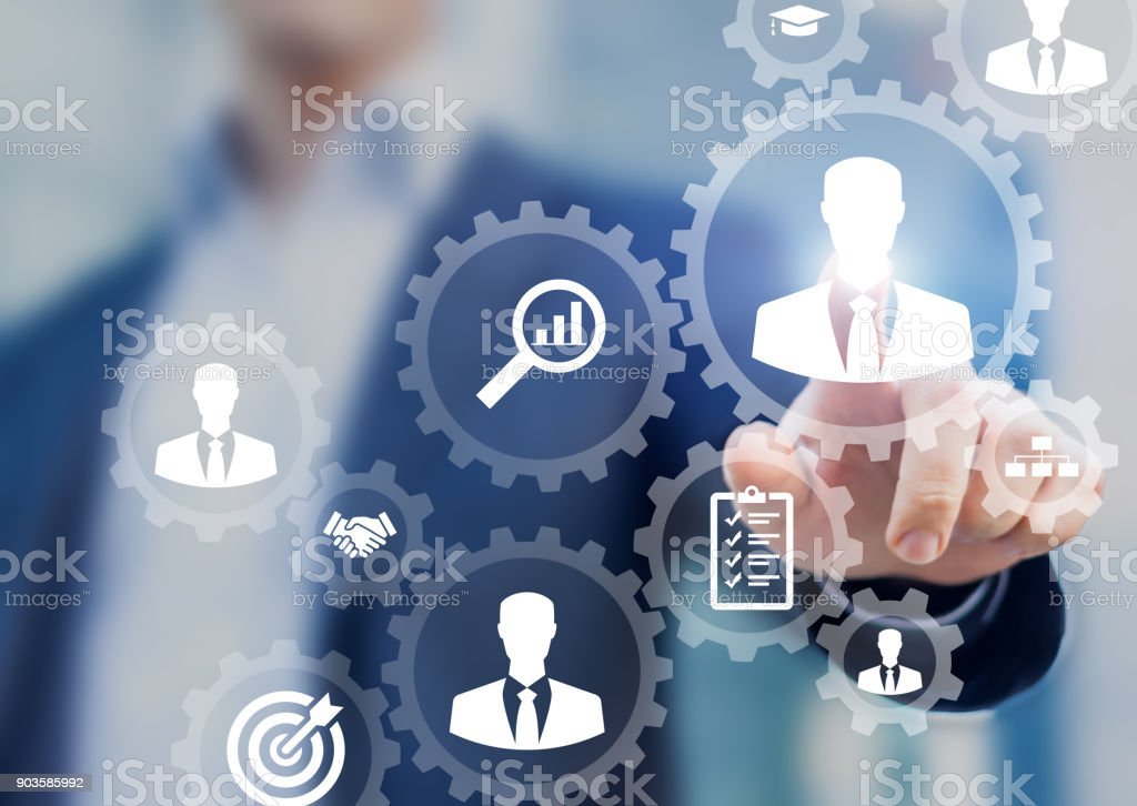 Human resources management and recruitment business process HR manager hiring stock photo