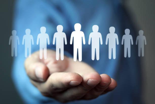 human resources management and recruitment. leadership concept - reparto assunzioni foto e immagini stock
