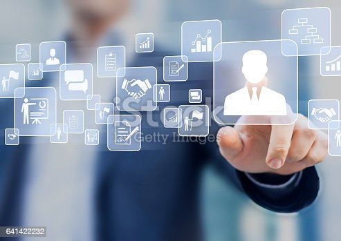 istock Human resources (HR) management concept on a virtual screen interface 641422232
