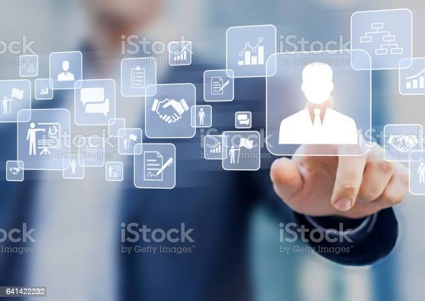 Concetto Di Gestione Delle Risorse Umane Su Uninterfaccia Dello Schermo Virtuale - Fotografie stock e altre immagini di Reparto assunzioni