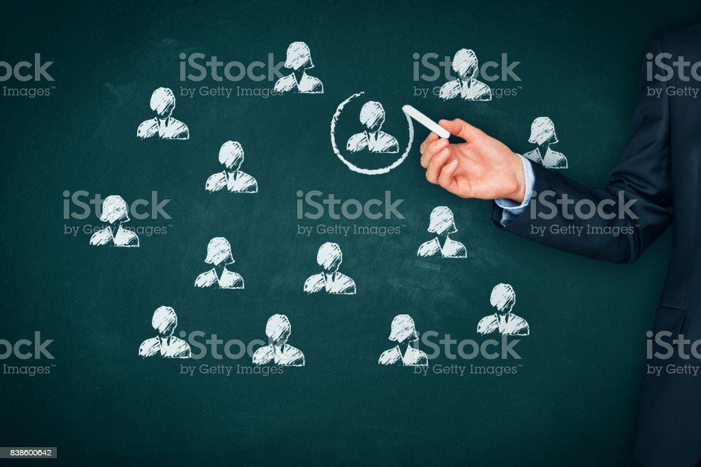 Human resources, marekting segmentation and personalization concept stock photo