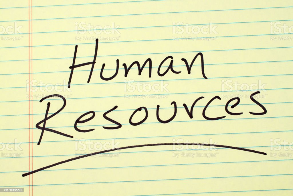 Human Resources On A Yellow Legal Pad stock photo
