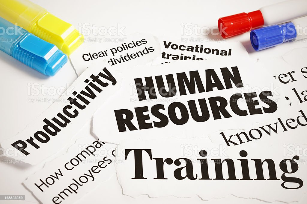 Human Resources, Training and Productivity headlines with pens royalty-free stock photo