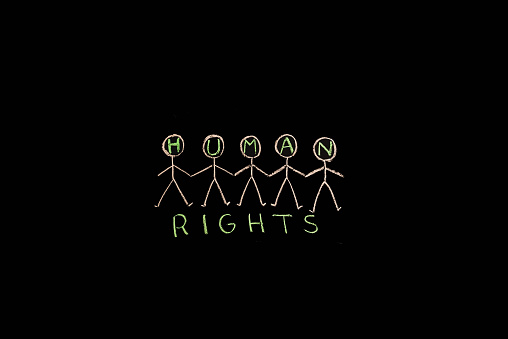 istock TEXT Human Rights against black backdrop - Illustration 628030078