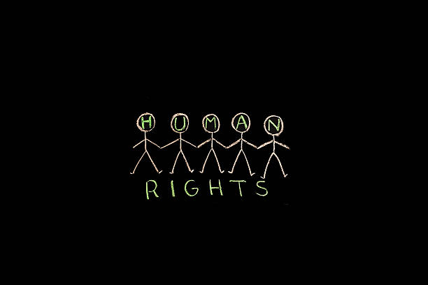 TEXT Human Rights against black backdrop - Illustration TEXT Human Rights against black backdrop - Illustration social justice concept stock pictures, royalty-free photos & images