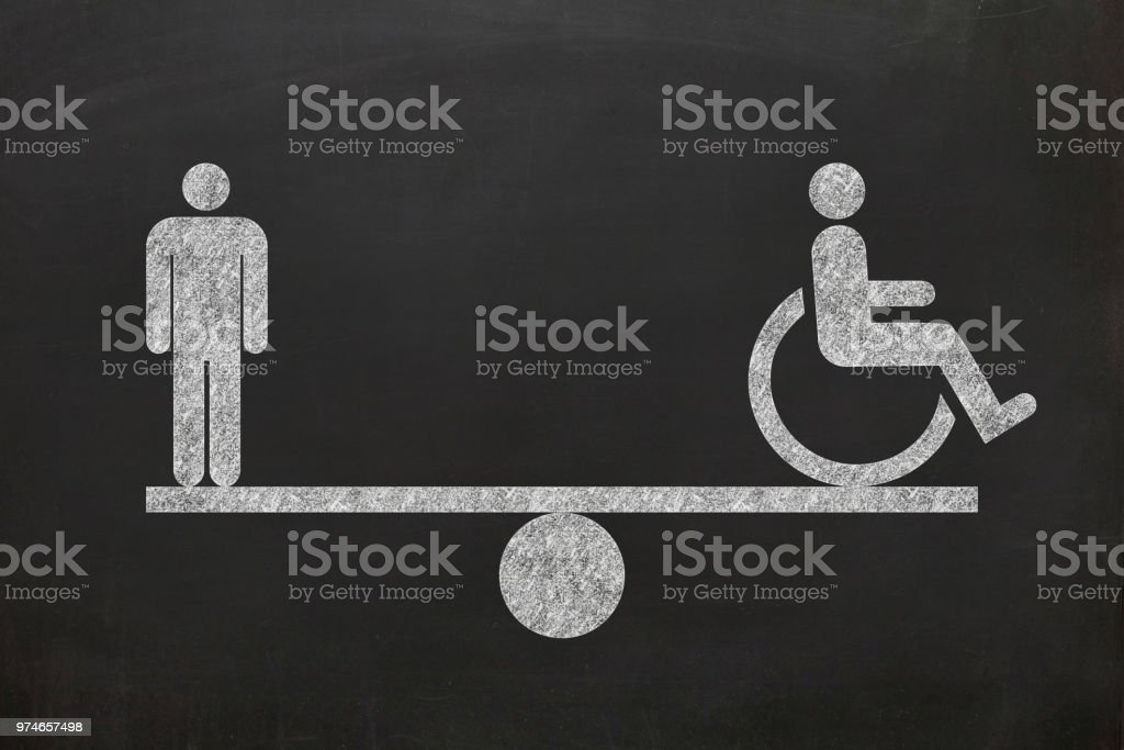 Human rights disability equality scale comparison stock photo