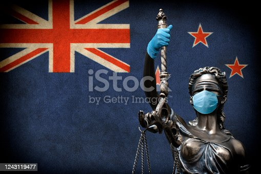 Justice lawyer corona concept in New Zealand