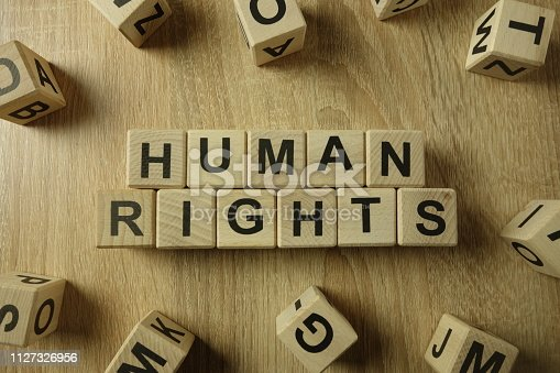 istock Human rights text from wooden blocks 1127326956