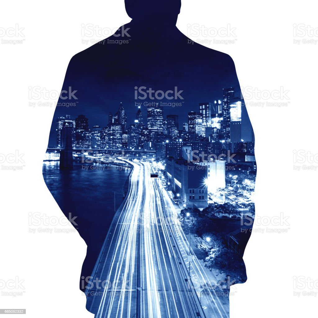 Human shape and new york city background usa business network human shape and new york city background usa business network concept illustration royalty voltagebd Images