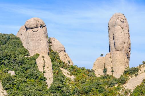 Human shape rocks in Montserrat, Catalonia, Spain