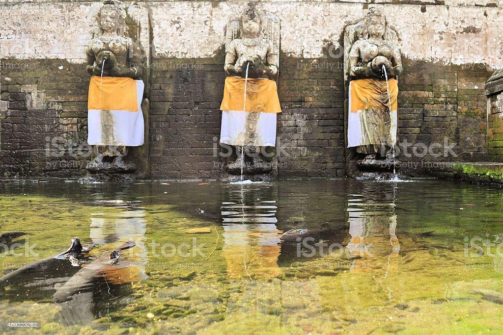 Human shaped fountains at Goa Gajah Temple, Bali, Indonesia stock photo