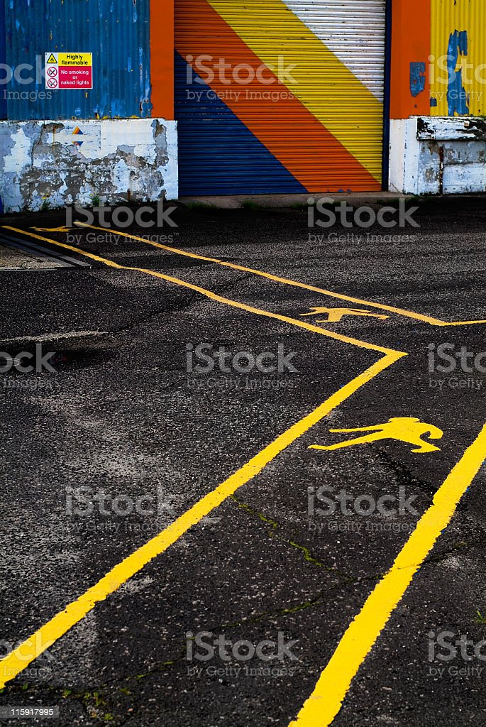 Human signs on the asphalt royalty-free stock photo