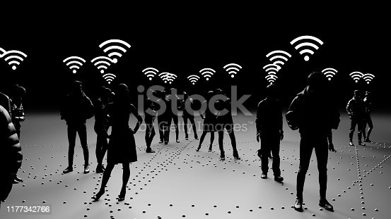 913588258 istock photo Human silhouettes of people connected, social networks 1177342766
