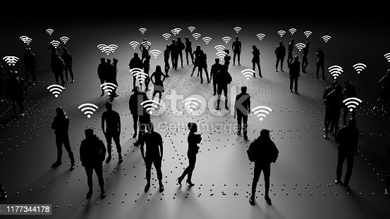 913588258 istock photo Human silhouettes of people connected, social networks 1177344178