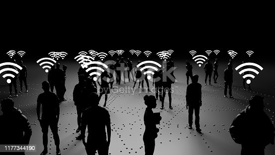 913588258 istock photo Human silhouettes of people connected, social networks 1177344190