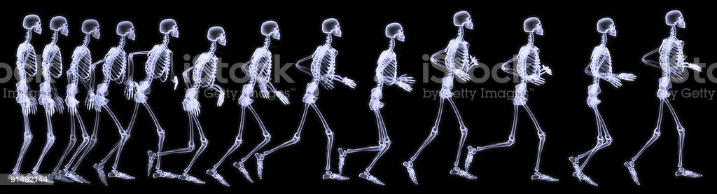 Human skelegon running, radigraphy sequence stock photo